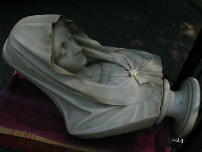 Marble bust Carrara Italian 19C life sized Virgin Mary hand carved high quality