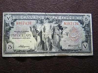 1935 THE CANADIAN BANK OF COMMERCE $5 NOTE auction ss261
