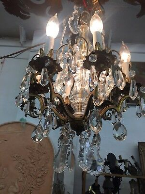 Antique Crystal Chandelier Small