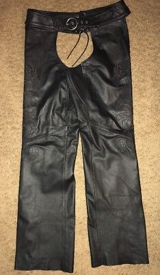 Harley-Davidson DELUXE Lined Leather Embroidered BLACK Chaps WOMENS SIZE Medium