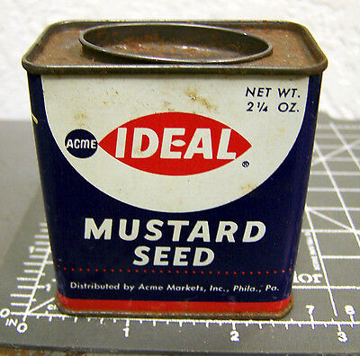 Vintage Ideal Mustard Seed 2 1/4 oz spice tin, great colors & graphics