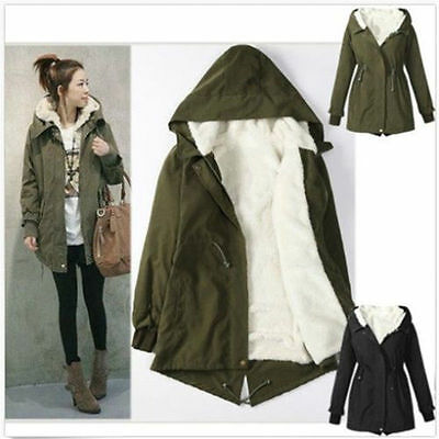 Women Parka Coat Winter Warm Fur Hoodie Fleece Overcoat Jacket Long Zip Outwear