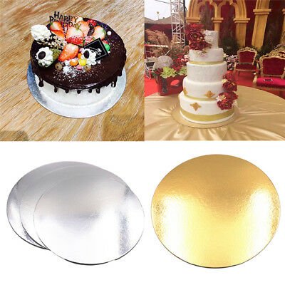 """Cake Board Round Silver Gold 8"""" 10"""" 5 Pack Cake Boxes Cupcake Boxes Party Decor"""