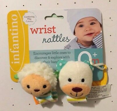 Infantino Plush Wrist Rattles with Velcro - Lamb and Bear    (New)