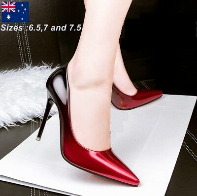 Wine Red Women High Heel Stilettos Pumps Pointed Toe Wedding Bridal Party Shoes