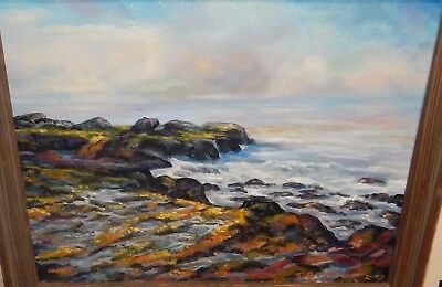 P Brunner Oil On Canvas California Coastal Seascape Scene Painting