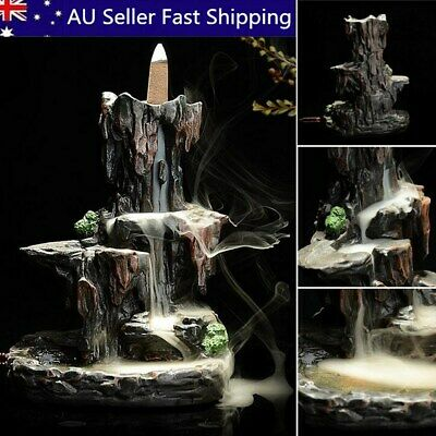 Ceramic Mountain Waterfall Smoke Backflow Incense Burner Cones Holder + 7 Cones