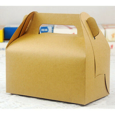 10pcs Kraft Paper Bowknot Portable Cake Boxes Party Gifts Favors DIY