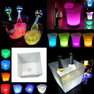 LED Ice Cooler Bucket Party Bar Beer Wine Drinks Box Christmas Decor 3.5L-10L