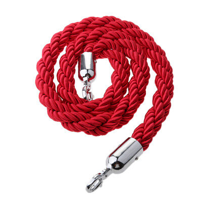 Red Queue Barrier Stand Posts Twisted Rope Divider Crowd Stanchion 1.5m