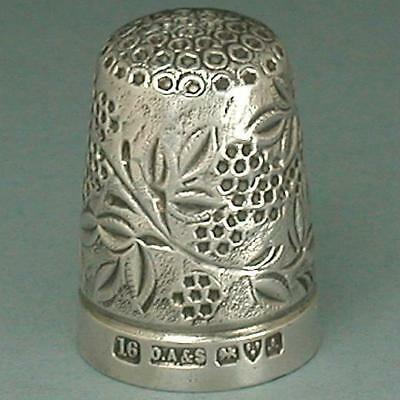 Antique English Blackberry Sterling Silver Thimble * Hallmarked 1901