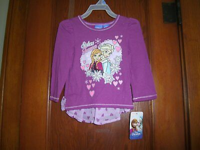 "New ""frozen"" Baby Girls Long Sleeve Tee Shirt Top Size 24 Month Purple"