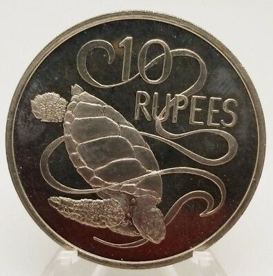 Seychelles 1974 10 Rupees Uncirculated - Green Sea Turtle