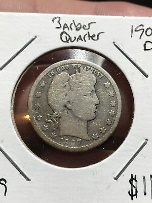 1907-D Barber Silver Quarter. Collector Coin For Your Collection. Free Shipping