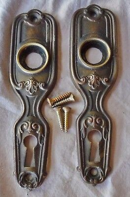 "Door Knob Back Plates Deco Old Patina Brass 4 3/4"" x 1 1/4"" (per each Pair)"