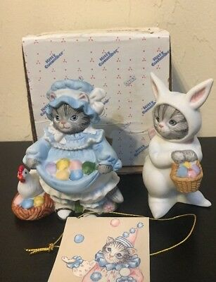 Set Of 2 Vtg Schmid Kitty Cucumber 1992 Easter Eggs Basket & Easter Bunny