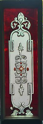 Rare etched, painted and kiln fires stained glass window