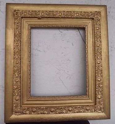Large Wood Carved Antique Arts and Crafts Gold Gilded Picture Frame