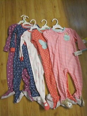 NWT Carter's Baby Girls One Piece Footed Pajama 18 Months Sleepwear 100% cotton