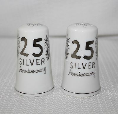 Vintage 25th Anniversary Porcelain Salt & Pepper Shakers