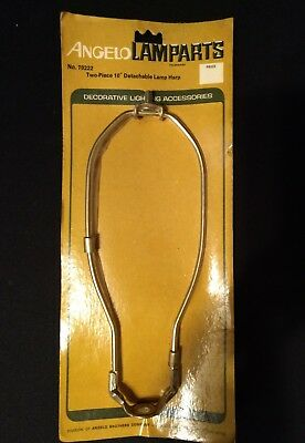 """Vintage 10"""" Two Piece Detachable Lamp Harp Brass Plated Angelo #70222 New 1970"""