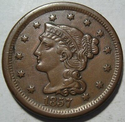 = 1857 AU/BU LARGE Cent, SMALL Date, SUPER DETAILS & Eye APPEAL, FREE SHIPPING