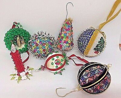 Lot of 7 Vintage Beaded Sequin Christmas Tree Balls Candle Ornaments Handcrafted