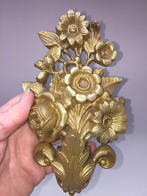 Antique French Pair Ormolu Bronze Chateau Curtain Tie Backs Hooks Flowers Mounts