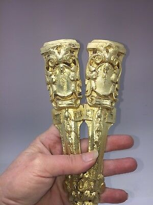Pair Antique  French Column Pillar Ormolu Cabinet Furniture Mounts Original