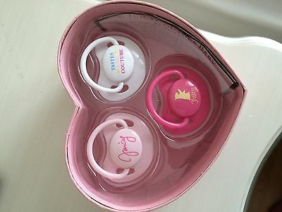 NWT Juicy Couture baby girls 3 pack pacifiers dummy soothers