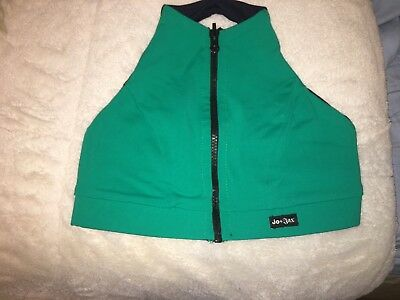 Jo Jax zipper top, reversible, navy blue and green size small adult LIGHTLY used