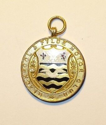 9ct gold medal / fob. Blackpool and fylde motor club.1925.  Motor racing / trial