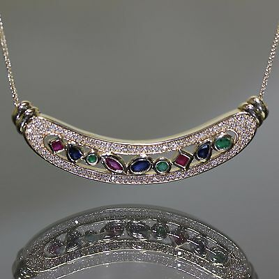 14k Yellow gold Natural untreated Emerald Ruby Sapphire & Diamond Necklace set