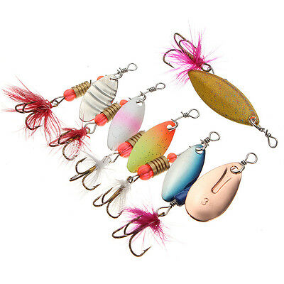 5pcs Fishing Spinner Lures Freshwater Trout Redfin Fishing Tackle Assorted Cols