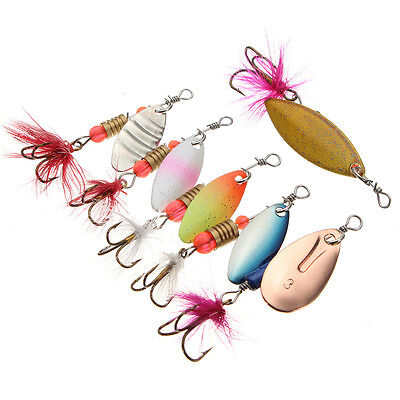 10 Fishing Spinner Lures Freshwater Trout Redfin Fishing Tackle Assorted Colours