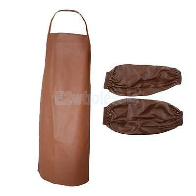 Waterproof Chef Apron for Butcher Kitchen Cooking BBQ with Sleeves Brown