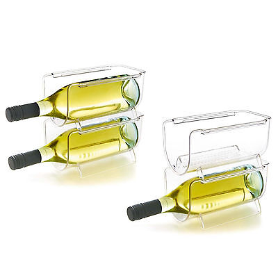 4 x Stackable Bottle Holder Wine Storage Rack Can Shelf Pantry Fridge Organizer