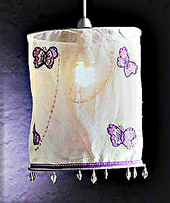NEW Girls Bedroom Lilac White Butterfly Light Lampshade Ceiling Pendant Shade