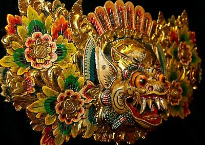 Balinese Boma Barong Singa Mask Wall Hanging Relief Panel wood carving Bali art
