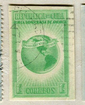 SPANISH CARIBBEAN;  1942 early Democracy issue IMPERF fine used 1c. value