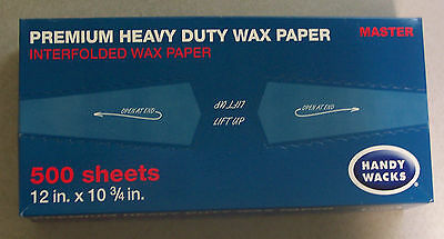 "Box of 500 12""x10 3/4"" (Handy Wacks )Interfolded Artisan Wax Deli Wrap Paper"