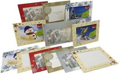 6 x Christmas Photo Frame Cards & Envelopes Personalised any Family Picture