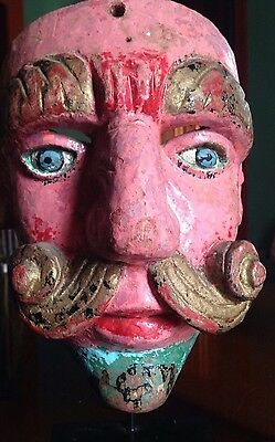 Antique Carved Wood Polychrome Guatemalan Christano Dance Mask