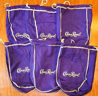 "Lot Of 6 Crown Royal Bags 750ml Size Purple Felt with Drawstrings 7""x9"" Gaming"