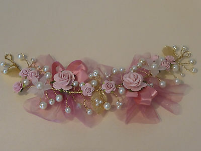 Flower Dusty Dusky Pink Rose Hair Vine Ivory Pearls Bridal Wedding Bride