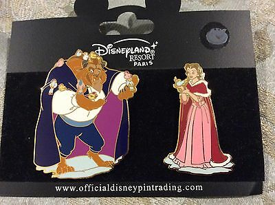 Disney DLP Winter Beauty and the Beast Belle Beast birds winter pin set of 2 LE