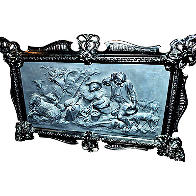 Antique Cast Iron Art Plaque Sheppard Scene in Relief