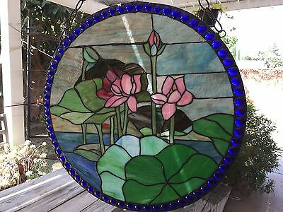 "Large Tiffany Style Round Stained Glass Window Panel Water Lily Lotus, 23 1/2"" D"