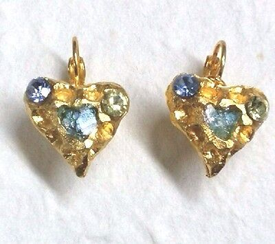 Roman Glass Fragment Ancient 200 B.C Gold P.Earrings Holy land Archaeological.