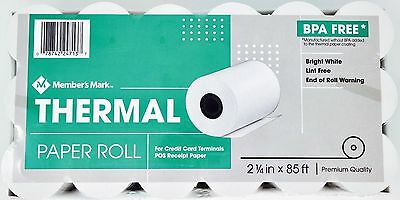 "Member's Mark Thermal Paper BPA-Free, 2 1/4"" x 85', 5, 13, 18, 36 or 72 Rolls"